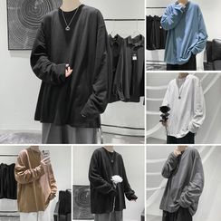 JUN.LEE(ジュンリー) - Plain Oversize Long-Sleeve Top