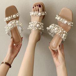 NODO - Faux Pearl Slide Sandals