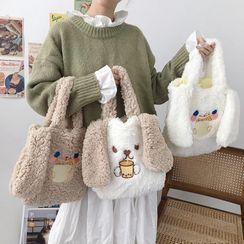 TangTangBags - 小兔耳朵装饰抓毛手提袋