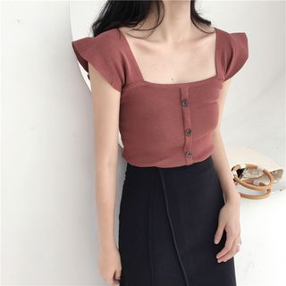 ALIN STYLE - Frill Trim Knit Top