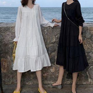 Moon City - Long-Sleeve Midi A-Line Dress