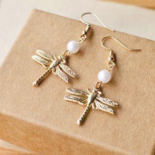 Nisen - Faux Pearl Dragonfly Drop Earring