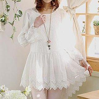Sechuna - Raglan-Sleeve Dip-Back Dress