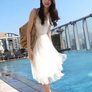 Dowisi - Tank Dress with Tulle Overlay