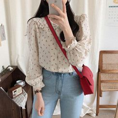 MARION(マリオン) - Long Sleeve Round Neck Print Blouse