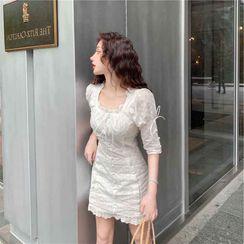 Lushii - Elbow-Sleeve Mini Lace Dress
