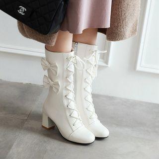 Udin - Bow Chunky-Heel Short Boots