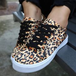 Weiya - Leopard Print Lace Up Sneakers