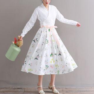 Sulis - V-Neck Long-Sleeve Top + Chiffon Skirt