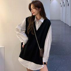 Shopherd - Striped Shirt / V-Neck Sweater Vest