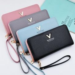 Marchsome - Faux Leather Zip Long Wallet