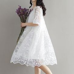 Ashlee - Set: Embroidered Elbow-Sleeve a-Line Dress + Slip Dress