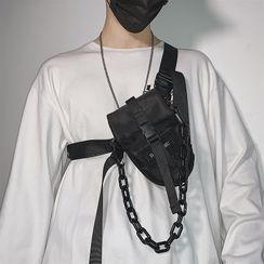 SUNMAN - Buckled Chain Strap Sling Bag
