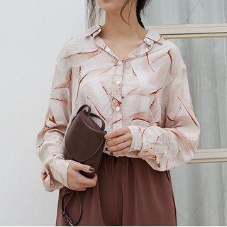 Kongpow - Chiffon Pattern Print Long-Sleeve Shirt