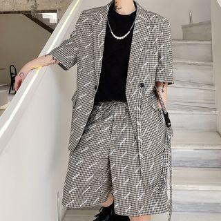 Bjorn - Set: Short-Sleeve Plaid Blazer + Shorts