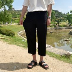 Seoul Homme - Drawstring-Waist Cropped Dress Pants
