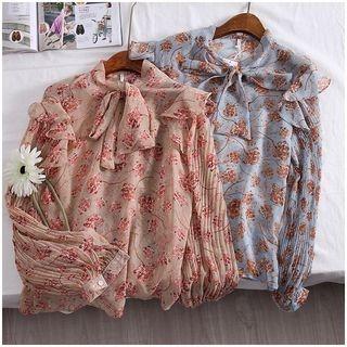 Tintou - Long-Sleeve Floral Printed Tie-Waist Blouse