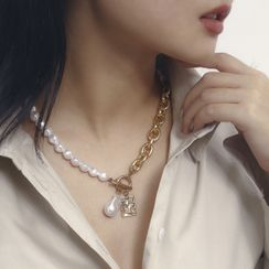 Seirios - Chain Faux Pearl Necklace