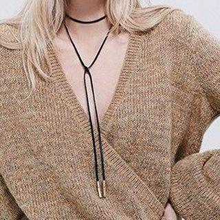 Calypso - Faux Suede Lariat Necklace