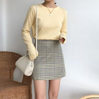 CaraMelody - 长袖纯色针织毛衣