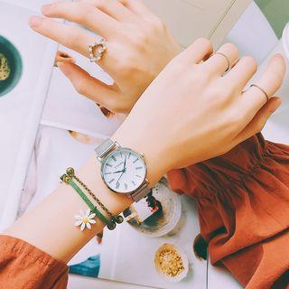 Honey Bee - Set: Roman Numeral Bracelet + Daisy String Bracelet