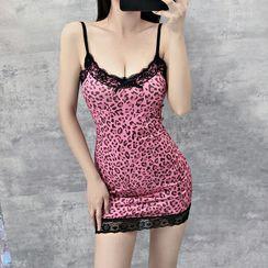 Mon Mon Muffy - Spaghetti Strap Lace Trim Leopard Print Mini Dress