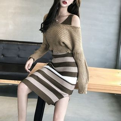 STARK - Set: Cropped Sweater + Sleeveless Striped Sheath Knit Dress