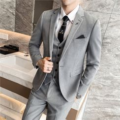 Bay Go Mall(ベイゴーモール) - Set: Single Breasted Blazer + Vest + Dress Pants