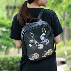 Candy Kisses - Transparent Panel Lightweight Zip Backpack