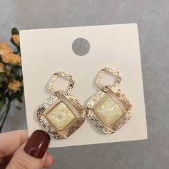 LIVSIA - Resin Alloy Square Dangle Earring