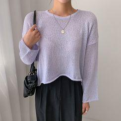 Envy Look - Round-Neck Drop-Shoulder Knit Top