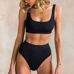 Frutto - Ribbed Scoop-Neck High-Waist Bikini