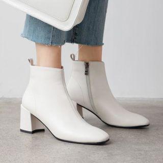 Shoes Galore - Block Heel Side Zip Short Boots