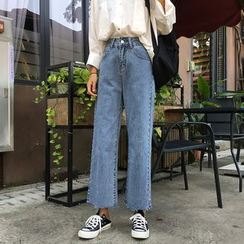 QOLOS - Cropped Straight-Fit Jeans