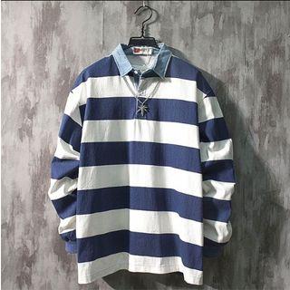 Beiluofs - Paneled Striped Polo Sweatshirt
