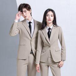 Skyheart - Couple Matching Single-Button Blazer / Single-Breasted Vest / Plain Shirt / Dress Pants / Set