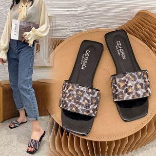 Weiya - Rhinestone Slide Sandals