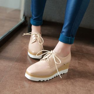 Kireina - Patent Platform Wedge Lace-Up Loafers