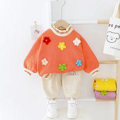 Mini Bae - 小童套裝: 飾花朵套衫 + 褲