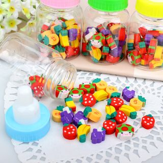 Coco Store - Erasers with Milk Bottle Container