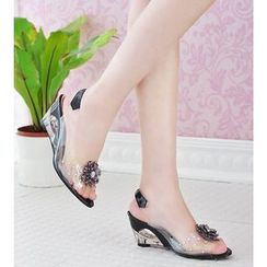 Shoes Galore - Flower Accent Transparent Wedge Sling Back Sandals