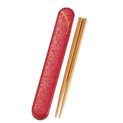 Hakoya - Hakoya Wooden Chopsticks 18cm with Case (Komemon Red)
