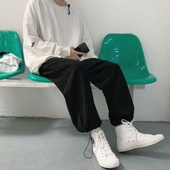 JUN.LEE - Plain Drawstring Harem Sweatpants