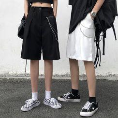 Malnia Home - Couple Matching Chain Strap Wide-Leg Dress Shorts