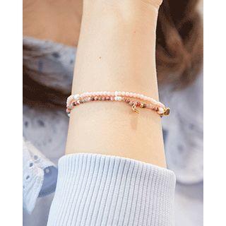 Miss21 Korea - Heart Charm Bead Bracelet