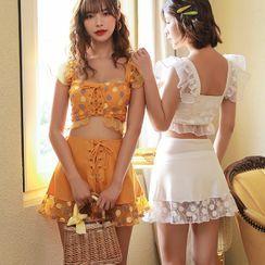 Candyseed - Set: Lace-Up Tankini Top + Bottom + Swim Skirt