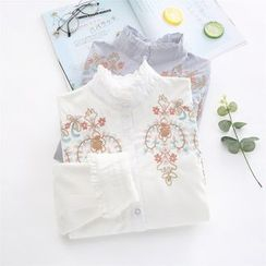 TOJI - Stand Collar Frilled Embroidery Blouse