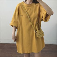 Oolun - Lettering Elbow-Sleeve T-Shirt Dress