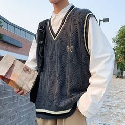 YERGO - Contrast Trim  V-Neck Knit Vest