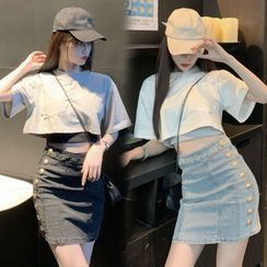 Heartsily - 中袖短款T裇 / 迷你牛仔裙 / 短款背心